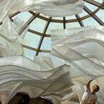 Hanging glass art installation in Capella. Made by Nikolas Weinstein Studios