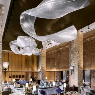 Contemporary glass art with Glass innovations at Shangri La Midtown